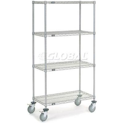 Nexel® Chrome Wire Shelf Truck 36x18x69 1200 Pound Capacity with Brakes