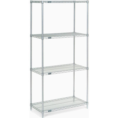 "Nexel® Stainless Steel Wire Shelving Starter 36""W x 18""D x 74""H"