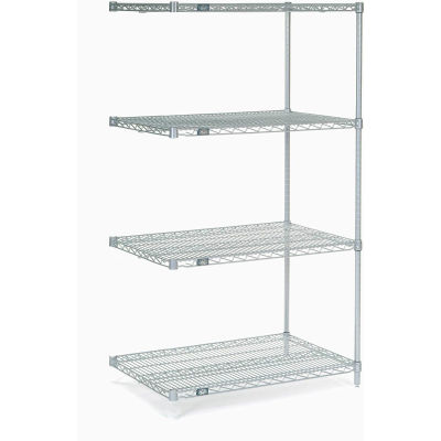 "Nexel® Stainless Steel Wire Shelving Add-On 36""W x 24""D x 63""H"