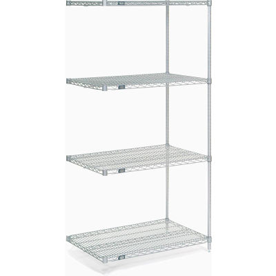 "Nexel® Stainless Steel Wire Shelving Add-On 36""W x 18""D x 74""H"