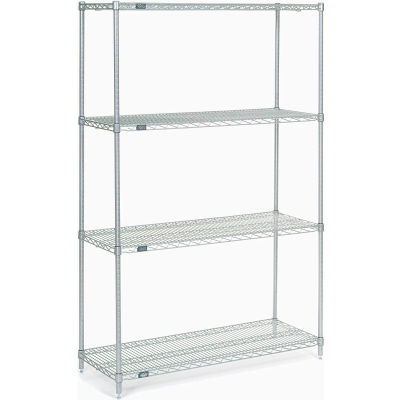 "Nexel® Stainless Steel Wire Shelving Starter 48""W x 18""D x 74""H"