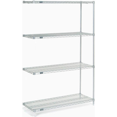 """Nexel® Stainless Steel Wire Shelving Add-On 48""""W x 18""""D x 74""""H"""