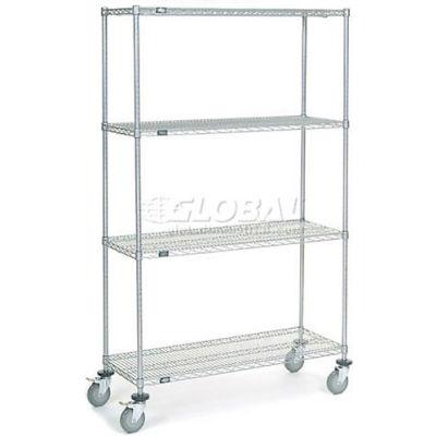 Nexel® Chrome Wire Shelf Truck 48x18x80 1200 Pound Capacity with Brakes