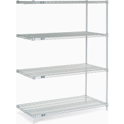 "Nexel® Stainless Steel Wire Shelving Add-On 48""W x 24""D x 63""H"