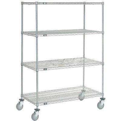 "Nexel®, Chrome Wire Shelf Truck, 48"" x 24""x 69"", 1200 Lb.Capacity, Unassembled"
