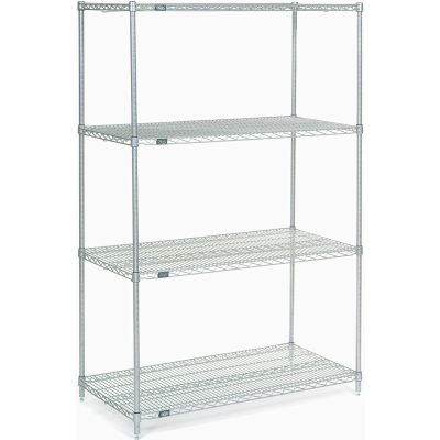 "Nexel® Stainless Steel Wire Shelving Starter 48""W x 24""D x 74""H"