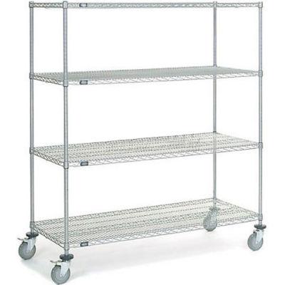 Nexel® Chrome Wire Shelf Truck 60x24x69 1200 Pound Capacity with Brakes