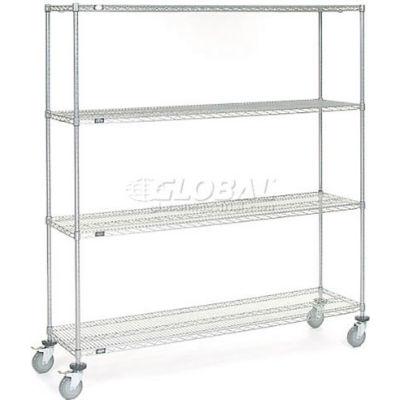 Nexel® Chrome Wire Shelf Truck 72x18x80 1200 Pound Capacity with Brakes