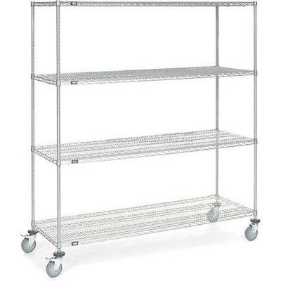 """Nexel® Chrome ESD Wire Shelf Truck, 4 Shelf, 72""""L x 21""""W x 69""""H, Polyurethane Casters"""