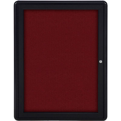 """Ghent Ovation Bulletin Board - Indoor - 1 Door - Merlot w/Black Frame - 24""""W x 34""""H"""