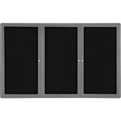 "Ghent Ovation Bulletin Board - Indoor - 3 Door - Black w/Gray Frame - 72""W x 48""H"