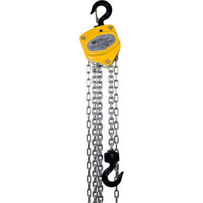 OZ Lifting Manual Chain Hoist w/ Std. Overload Protection 1/2 Ton Cap. 20' Lift