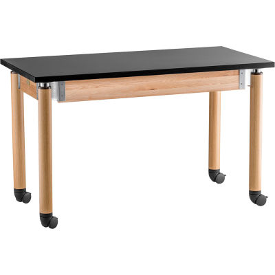 "NPS Science Table with Casters - Chemical Resistant - Adjustable Height - 30"" x 60"" - Black/Oak"