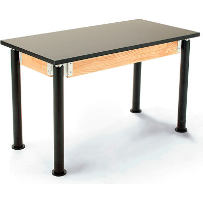 "NPS Science Table - Chemical Resistant - Adjustable Height - 30""W x 60""L x 29""-41""H - Black/Black"