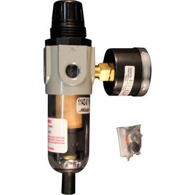 "Milton S-1142 Mini Piggyback Filter/Regulator Polycarbonate Bowl 1/4"" NPT 150 PSI 20 Micron"