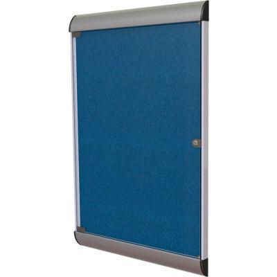 "Ghent Silhouette Enclosed Bulletin Board - Navy Vinyl w/Satin Frame - 42"" x 28"""
