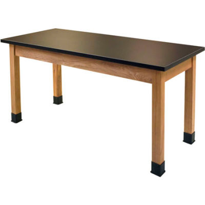 "NPS Science Lab Table - Phenolic Top - 72""L x 30""W x 36""H - Black w/ Oak Legs"