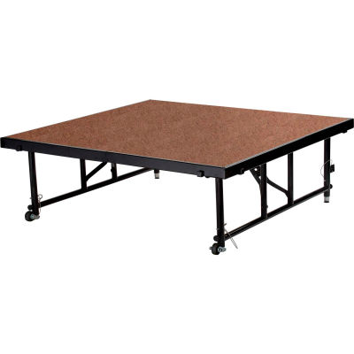"National Public Seating® Transfix 4'L x 4'W Hardboard Portable Stage with Adjustable 16-24""H"