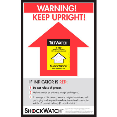 "SpotSee™ TiltWatch® Companion Labels, 8-1/2"" x 5-1/2"", Yellow/Black, 200/Box"