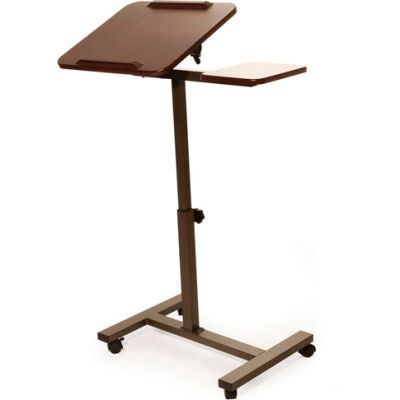Seville Classics Tilting Sit-Stand Laptop Desk Cart with Mouse Pad Table, Walnut